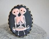 Gothic Weddings Bridesmaids gifts black pink tween skeletons ring