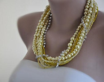 Handmade Chunky Weddings Yellow Glass Pearl Necklace brides, bridesmaids gifts