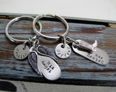 Her Cowboy His Angel Keychains Personalized Names His and Her Couple Set Husband And Wife Girlfriend Boyfriend