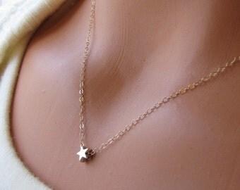 Star Necklace, Wish Upon A Star Jewelry, Tiny Floating Star Necklace, Twinkle Twinkle Little Star Everyday Jewelry