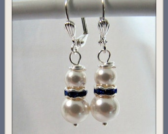 White Swarovski Pearl Earrings embellished in  Blue Sapphire Rondelle Bridesmaid  Earrings Dangle Leverback Earwires Item #817