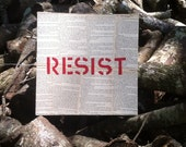 Painting - RESIST on Vintage Book Pages - 11 inch Square FREE PiF AoK