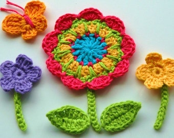 Crochet Flowers with leaves, butterfly and stems -  Crochet Garden Series