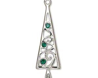 Christmas Tree Charm, Silver-finished with green Swarovski crystals.