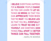 Everything Happens for a Reason Marilyn Monroe Printable 8 x 10 Digital Print Quote in Pink Gray