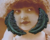 Verdigris Patina Feather Leaf Stampings 2216VER x2