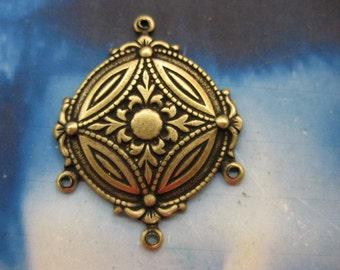 Ornate Brass Ox Plated Earring Chandeliers 460BOX x2