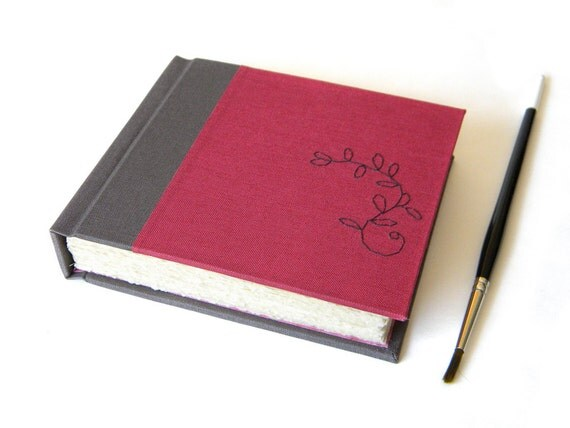 SALE - Small Sketchbook - Wet and Dry Media - Mauve and Gray - Handmade Gifts for Artists