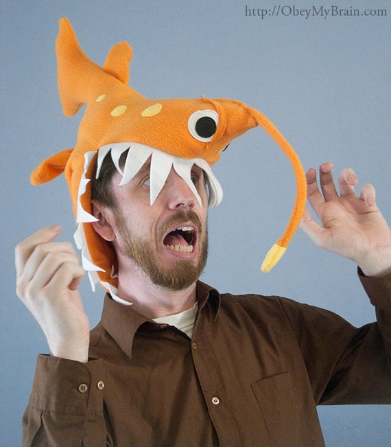 Fleece Angler Fish Hat - Orange