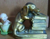 Vintage Figural Brass Dachsund Eating Books Bookend