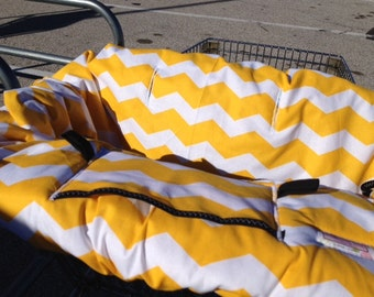 Shopping Cart cover  for boy or girl.....Large Chevron in Yellow