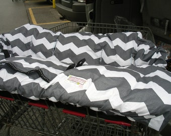 Twin Boutique Shopping Cart Cover for boy or girl.....Gray Chevron Shopping Cart Cover for 2 children