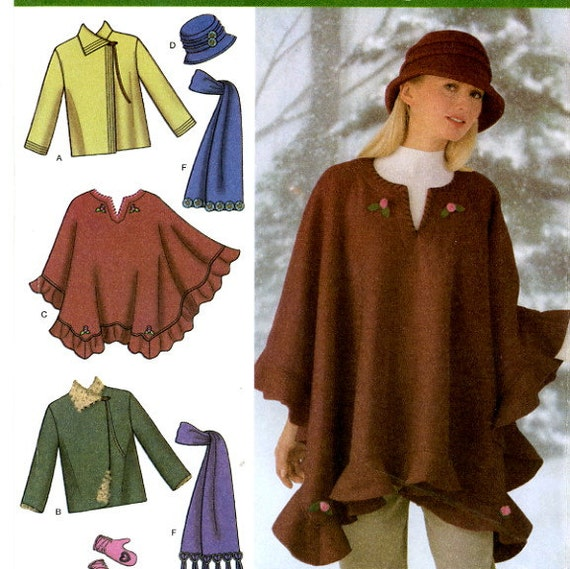 Simplicity 4783 Easy Fleece Jacket, Poncho, Scarf, Hat and Mittens Size 6 8 10 12 14 16 Uncut Sewing Pattern 2004