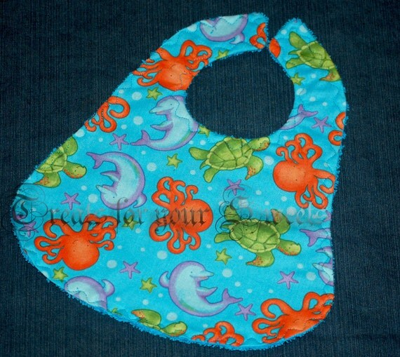 Baby Bib Under the Sea Turquoise Terry lined Debbie Mumm Animals Octopus Dolphin