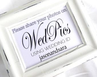 WedPics Wedding Sign -  White or Ivory