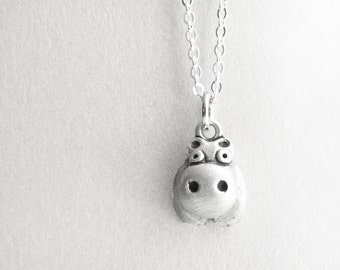 Very tiny hippo necklace, silver hippo jewelry, gift for her, daughter gift, coworker gift, gift for mom, gift for wife