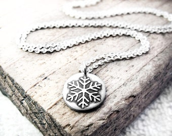Tiny snowflake necklace, winter holiday jewelry, silver snowflake jewelry
