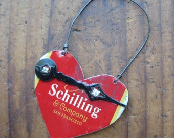 Vintage Reclaimed Schilling Heart Tin Ornament, Upcycled, Gifts under 15, gifts for her, Christmas ornament, ready to ship