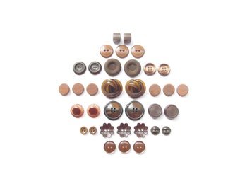 Vintage Brown Buttons . Button Sets . Retro Button Assortment . DIY . Sewing Supplies