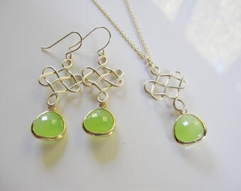 Long Green Earrings, Gold Celtic Earrings, Gold Chandelier, Apple Green, Bridesmaid Earrings, Wedding Earrings