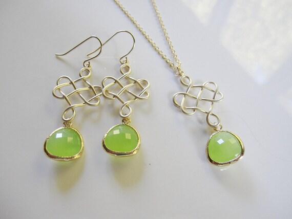 Long Green Earrings, Gold Celtic Earrings, Gold Chandelier, Apple Green, Bridesmaid Earrings, Wedding Earrings