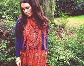 Terra Cotta Coral Orange Clay Triange Fringe Scarf - Crochet - Rust Orange Mesh - Wrap - Shawl - Softspoken Baby Baby Scarf - VEGAN