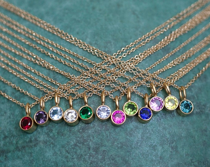 14k Gold Vermeil Birthstone Necklace, Personalized Gemstone Necklace, Original Small Gift, Mom's Necklace