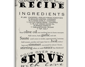 Gift Heirloom Recipe Wall Art / 30th 40th 50th 60th Birthday Kitchen Wall Art Gift Personalized / Custom Mother's Day Gift  20x24