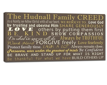 Family Creed with your family's motto House Rules on Canvas 18X36