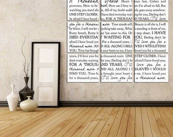 Lyrics Word Art Typography Wall Split Canvas of ONE Word Art image split (9) 10x10 canvas wall display