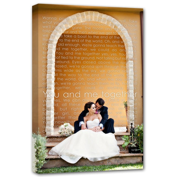 Gift Personalized Cotton Anniversary Gift photo words, lyrics, vows, memories Bridal 18X24