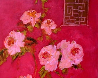 Red Chinoiserie with Roses