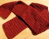 Hand Crochet Adult Scarf in Deep Red