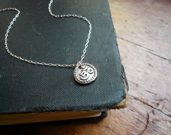 Tiny Om Charm Necklace in Sterling Silver - Sweet and Simple Necklace