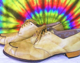 10.5 B vintage 50's-60's tan leather lace-up oxfords BAREFOOT FREEDOM granny shoes NOS
