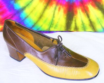 6.5-7 vintage 60's-70's two-tone oxfords AMALFI by RANGONI heels pumps brown and tan leather shoes