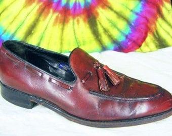 9.5 C mens vintage reddish brown leather Florsheim tassel loafers shoes