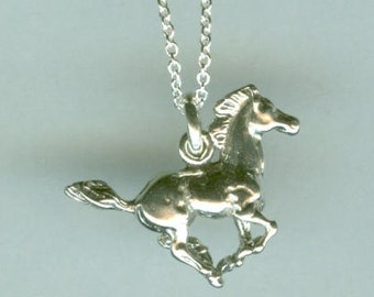 Sterling WILD MUSTANG HORSE Pendant and Chain - Equestrian, Whoa Team
