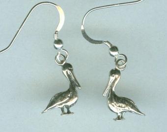 Sterling Silver PELICAN BIRD EARRINGS Earrings -- French Earwires - 3d - Beach, Tropical, Seashore