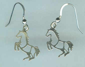 Sterling Silver REARING HORSE Earrings - Sports - Whoa Team, Equestrian, Horse Riding