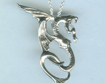 Sterling Silver DRAGON Pendant and Chain - Celtic, Irish, Mystical, Fantasy, Totem, Renaissance
