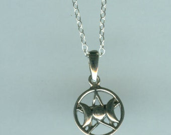 Sterling TRIPLE GODDESS Pendant with Chain - Celtic, Pagan, Goddess