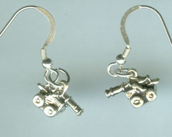 Sterling Silver CANNON  Earrings - Medieval, Renaissance, Weaponry - 3D