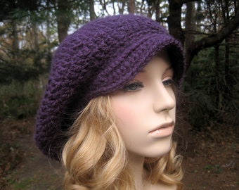 Womens Newsboy Hat, Teen Hat, Crochet Hat, Crochet Newsboy Hat, Womens Slouchy Hat, Crochet Rasta Hat, Adult Beret, Fall Fashion, Purple
