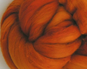 roving top MERINO PUMPKIN wool top PhatFiber Feature November Approx 4 ounces  Premium Top for Hand Spinning Felting and Crafts