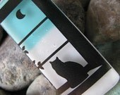 Kitty Cat In the Window Fused Glass Pendant