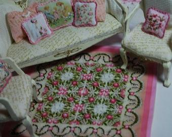 Miniature dollhouse quilt embroidered 1:12 Scale Katie Arthur