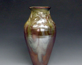 Raku Vase with Leaves in Gold, Copper Metallic and Iridescent Colors