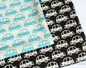 Cars (black/off white) -Japanese cotton fabric (0.5 yard)