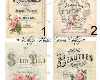 Large digital download 4 vintage music cover images with pink roses details BUY 3 get one FREE